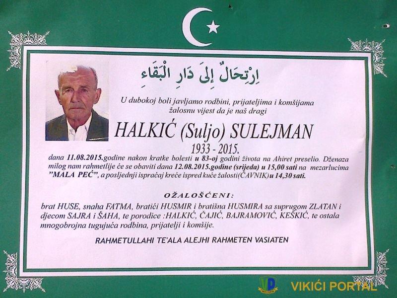Smrtovnica za Halkić Sulejmana zv. Debeli sa Čavnika