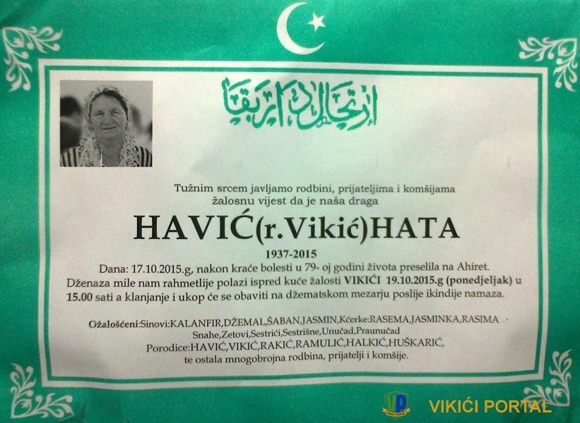 smrtovnica za Havić Hata rođena Vikić
