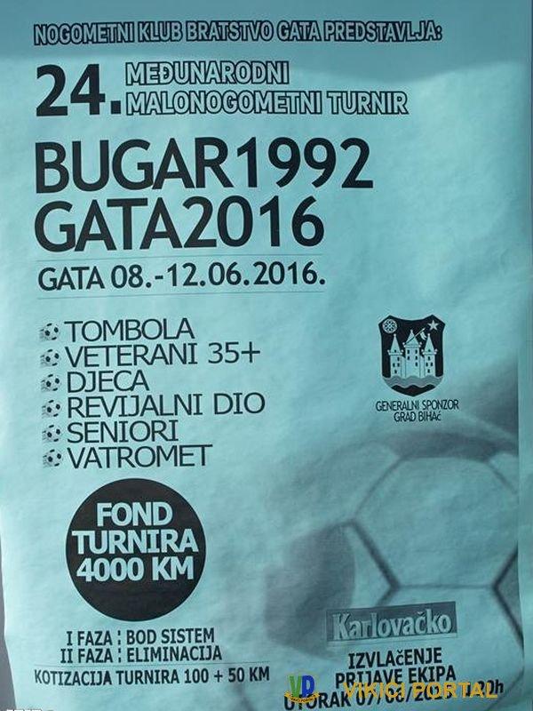 plakat 24. međunarodnog malonogometnog turnira Bugar 1992 - Gata 2016