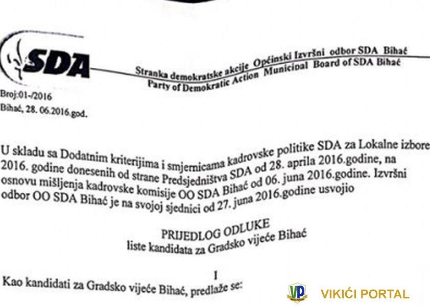 SDA prijedlog odluke liste kandidata za Gradsko vijeće Bihać