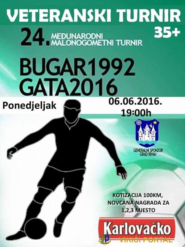 plakat 24. međunarodnog malonogometnog turnira Bugar 1992 - Gata 2016 za veterane
