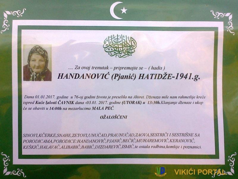smrtovnica Handanović Hatidže iz Vikića