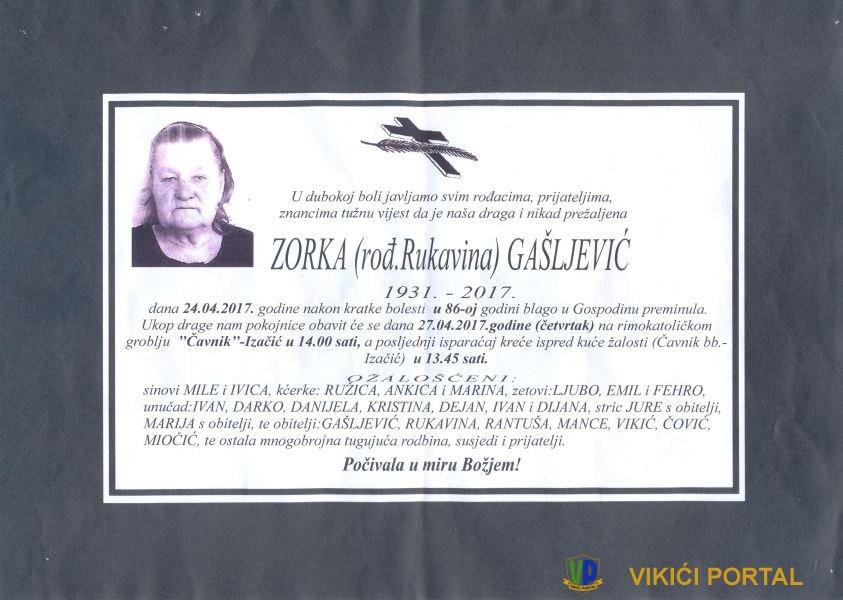 smrtovnica Gašljević Zorka iz Vikića
