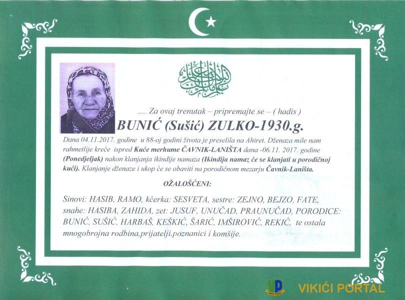 smrtovnica Bunić Zulko iz Vikića