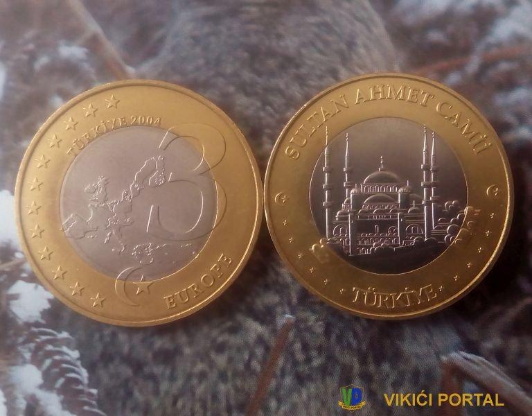 Sultan Ahmetova džamija na kovanici od 3 €