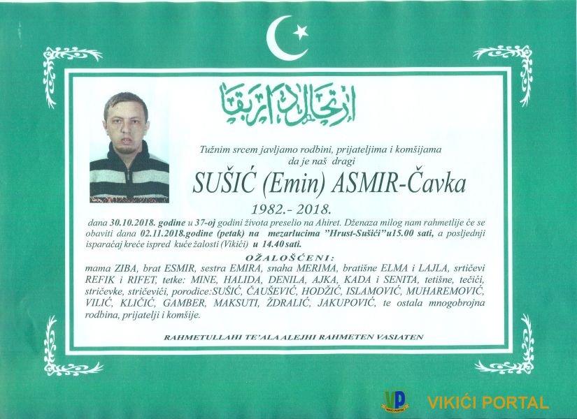 smrtovnica Asmir Sušić iz Vikića