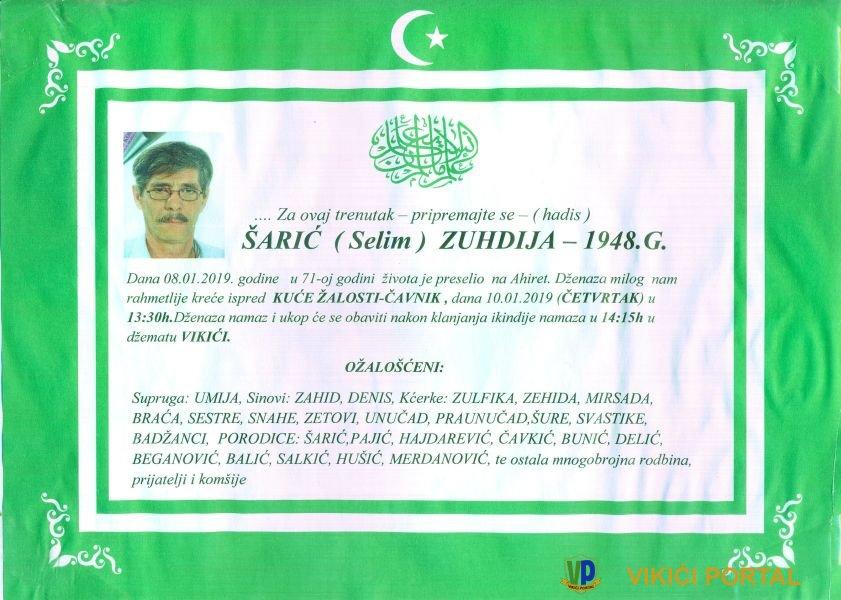 smrtovnica Zuhdija Šarić iz Vikića