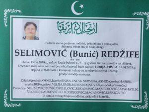 smrtovnica Selimović Redžife iz Turije