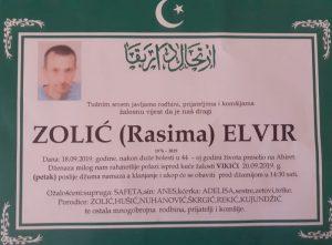 smrtovnica Zolić Elvir iz Vikića