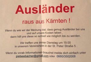 neonacistički letak iz austrijskog garada Klagenfurt