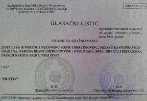 glasački listić za suverenu i nezavisnu Bosnu i Hercegovinu