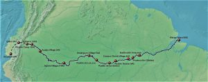 Mapa rijeke Amazon s oznakama dokle je plovila ekspedicija Franciska Orellana