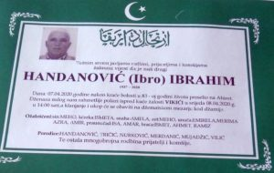 smrtovnica Handanović Ibrahim iz Vikića