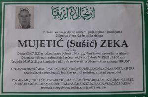 smrtovnica Mujetić Zeka iz Vikića