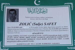 smrtovnica Zolić Safet iz Vikića