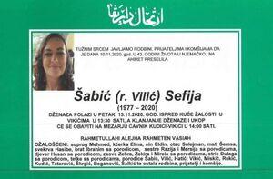 smrtovnica Šabić Sefija iz Vikića