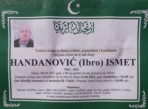 smrtovnica Handanović Ismet iz Vikića