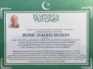 smrtovnica Husein Bunić iz Vikića