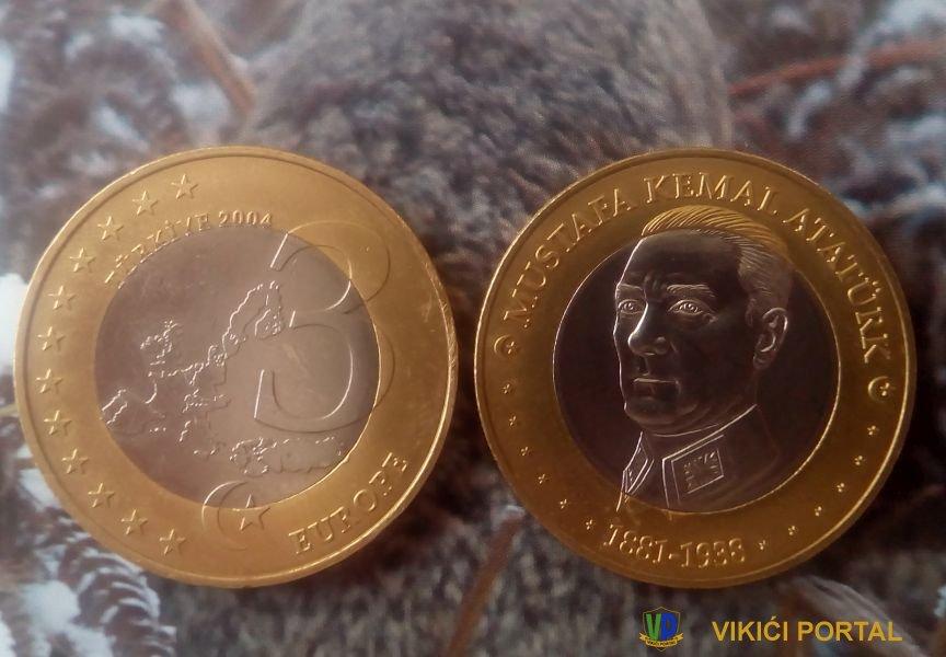 Mustafa Kemal Ataturk na kovanici od 3 €