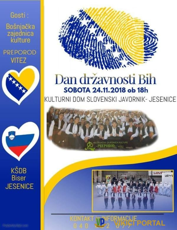 Plakat proslave Dana državnosti BiH na Jesenicama 2018.g.