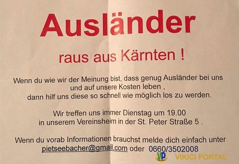 Austrijski parlament zabranjuje Hrvatima da kupuju parcele po Bleiburgu Neonacisticki-letak-Klagenfurt