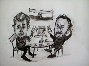 karikatura Čović - Izetbegović