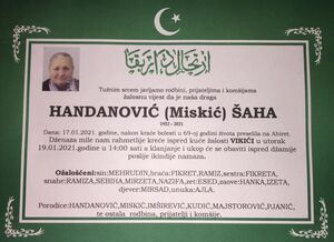 smrtovnica Handanović Šaha iz Vikića