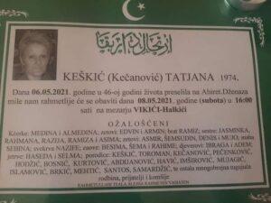 smrtovnica Keškić Tatjana iz Vikića