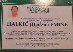smrtovnica Halkić Emina iz Vikića