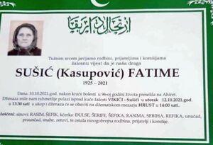 smrtovnica Fatime Sušić iz Vikića